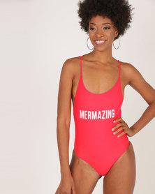London Hub Fashion Mermazing Swimsuit Red