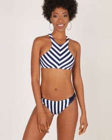 London Hub Fashion Stripe High Neck Bikini Navy/White