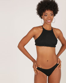 London Hub Fashion Ribbed Hi Neck Frill Trim Bikini Black