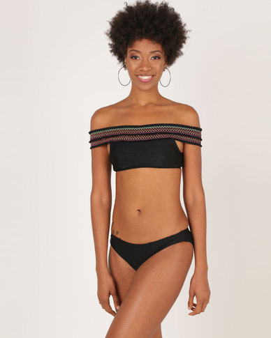 London Hub Fashion Bardot Shirred Bikini With Contrast Stitching Black