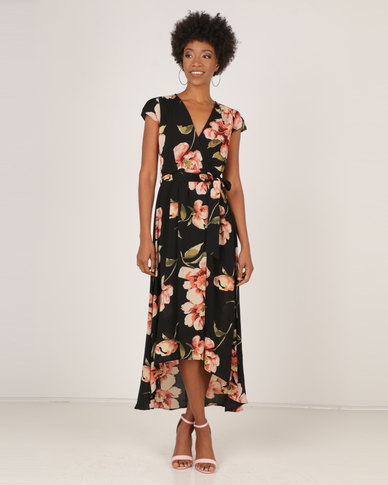 880ee8996c4b AX Paris Floral V Neck Maxi Dress Black | Zando
