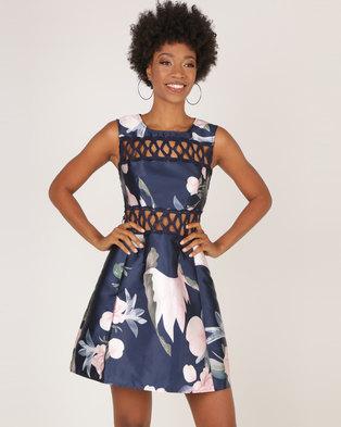 AX Paris Navy Floral Crochet Detail Skater Dress Blue