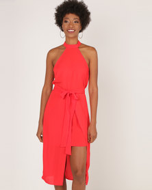 AX Paris Wrap Skirt Cut In Neck Dress Red