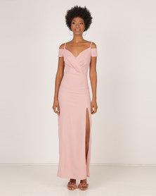 AX Paris Wrap Over Maxi Dress Blush