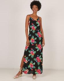 AX Paris Spaghetti Strap Maxi Dress Black Floral