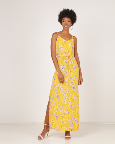 f5afea6d13 AX Paris Print Thigh Split Maxi Dress Yellow Floral | Zando