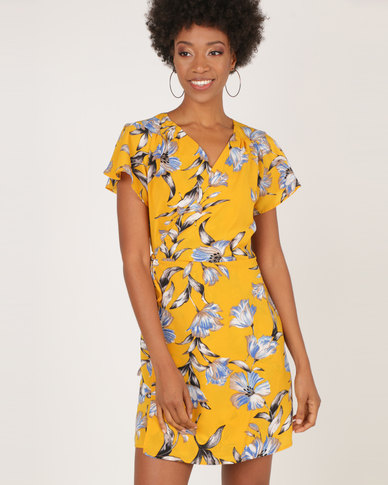 AX Paris Wrap Dress With Ruffled Sleeves Yellow Floral