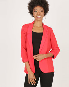 AX Paris Blazer Jacket With Ruched Sleeves Red