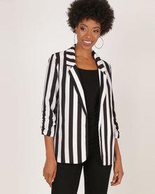 AX Paris Striped Blazer Jacket Black/White