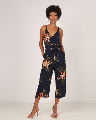 756507f480 AX Paris Floral Culotte V Neck Jumpsuit Navy