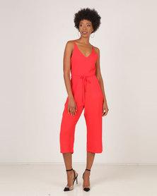 AX Paris V-Neck Culotte Jumpsuit Red