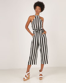 AX Paris Stripped Cut In Neck Jumpsuit Black And White