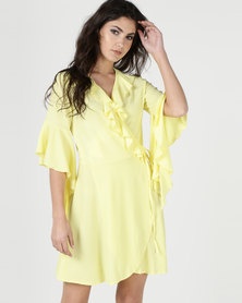 Liquorish Frill Wrap Dress Yellow