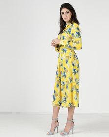 Liquorish Print Midi Shirt Dress Pineapple