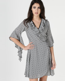 Liquorish Monochrome Floral Print Frill Sleeves Wrap Dress
