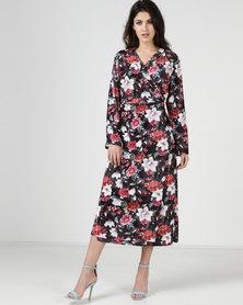 Liquorish Mink Flower Pattern Velvet Wrap Maxi Dress Multi