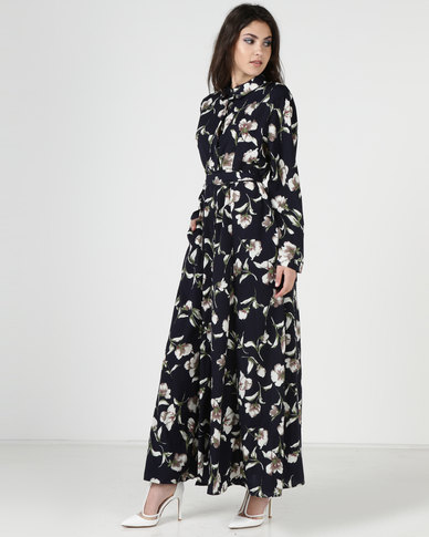 835c38847 Liquorish Flower Print Maxi Dress Navy | Zando