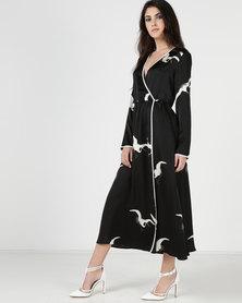Liquorish Long Sleeve Silk Asymmetric Wrap Dress Black