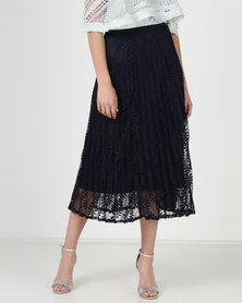 Liquorish Lace Pleated Midi Skirt Navy