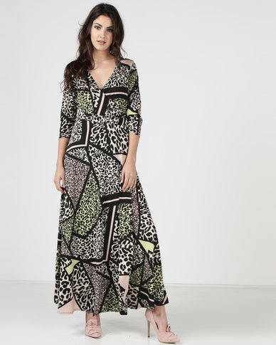 1aaf07cf5c1 Liquorish Mix Leopard Animal Print Wrap Maxi Dress