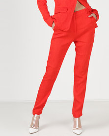 Liquorish Long Straight Two Pockets Trousers Red