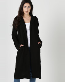 Liquorish Lightweight Jacket With Lace Back Black