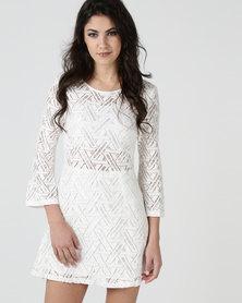 Liqurosh Crochet Long Sleeve Mini Dress White