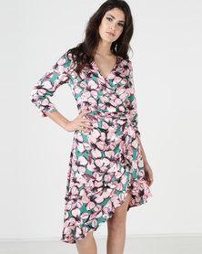 Liquorish Pink Flower Print Asymmetric Wrap Dress Multi
