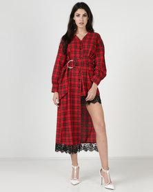 Liquorish Tartan Asymmetric Dress Red