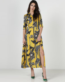 Liquorish Yellow Floral Print Maxi Dress Multi