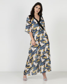 Liquorish Bird Print Maxi Dress White