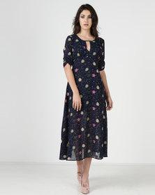 Liquorish Navy Print Midi Dress Blue