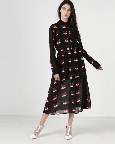 Liquorish Fox Print Midi Dress Black