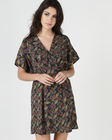 Liquorish Colour Wrap Dress Multi