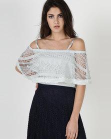 Liquorish Crochet Layered Cami Top Pastel Blue