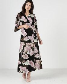 Liquorish Calla Lily Floral Wrap Maxi Dress Multi