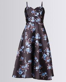 City Goddess London Satin Floral Tea Dress with Sweetheart Neckline Blue Black