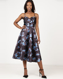 City Goddess London Satin Floral Tea Dress with Sweetheart Neckline Blue Black