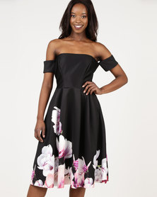 City Goddess London Off The Shoulder Black Floral Midi Dress With Arm Band Sleeves