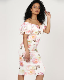 City Goddess London Multi Floral Off The Shoulder Midi Dress with Ruffled Sleeves