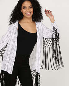 Goldie Traveler Arrow Print Fringed Jacket White