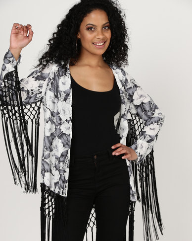 Goldie Traveler Tropical Fringed Jacket Black/White
