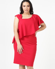 City Goddess London Plus Size One Shoulder Frilled Midi Dress Red