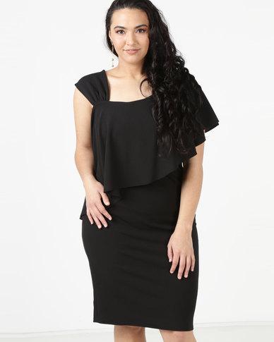 City Goddess London Plus Size One Shoulder Frilled Midi Dress Black