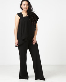 City Goddess London Plus Size One Shoulder Frilled Jumpsuit Black