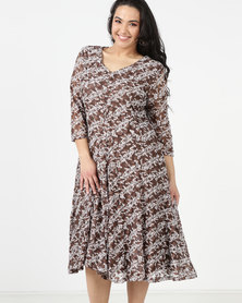 Queenspark Plus Mini Floral Fit & Flare Knit Dress Taupe