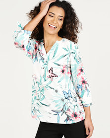Queenspark Happy Tropical Woven Blouse White