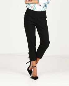 Queenspark Criss Cross Diamante Woven Capri Pants Black