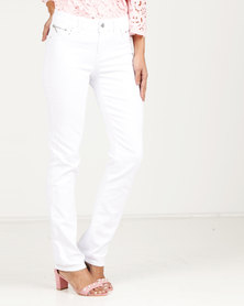 Queenspark Core Woven Denim With Zip Detail Jeans White