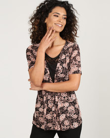 Queenspark Floral Glam Knit Top Black